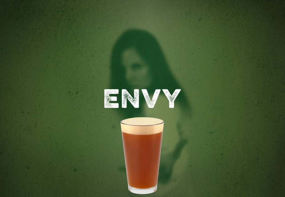 Pint of beer with background image of an envious woman